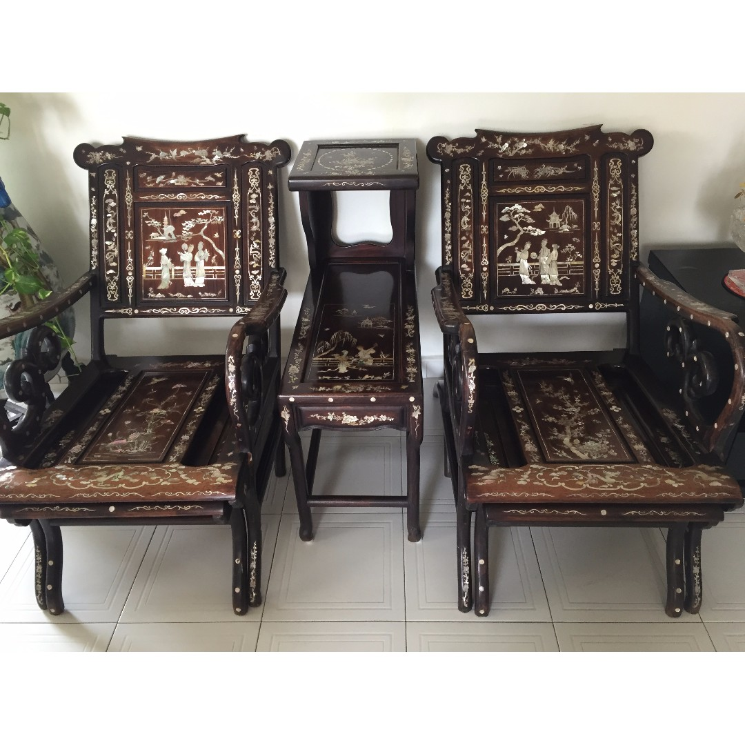 Antique Rosewood Furniture with Pearl Inlays - Beautiful!, Furniture,  Tables & Chairs on Carousell - Antique Rosewood Furniture With Pearl Inlays - Beautiful!, Furniture
