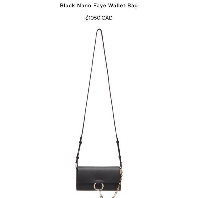 Authentic Chloe Faye nano bag/Wallet on chain