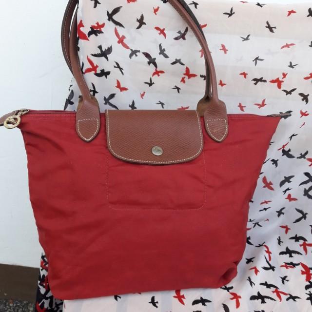 Authentic Red Longchamp Bag
