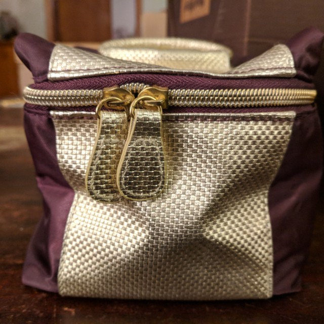 Avon wine gold makeup travel bag