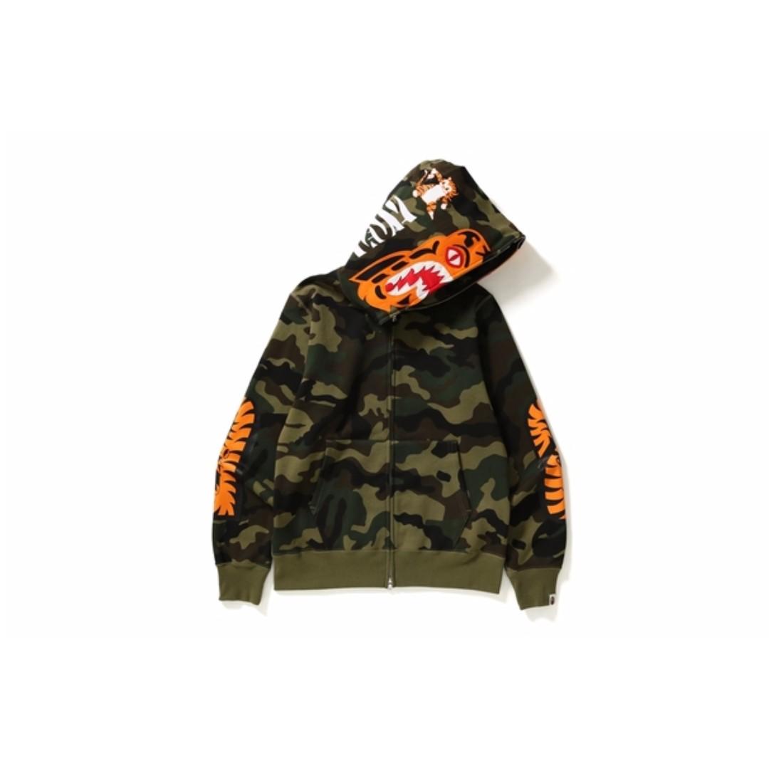 4be251d57216 BAPE Woodland Camo Tiger Full Zip Hoodie