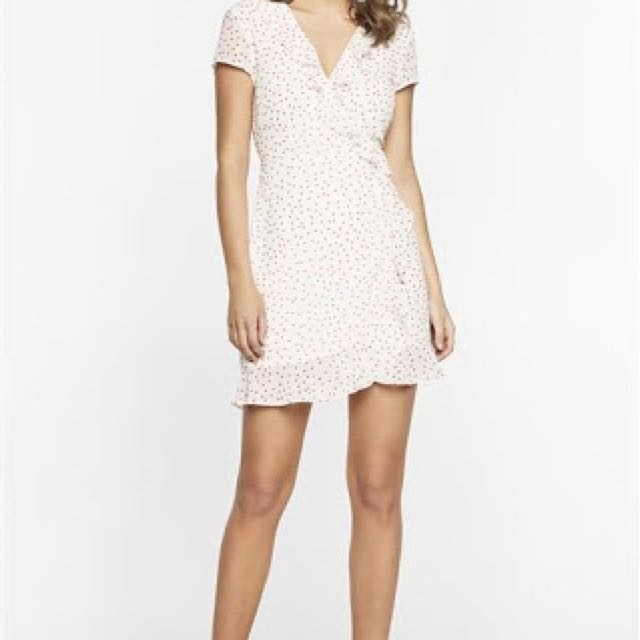 Bardot white red polka dot dress