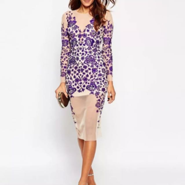 Beautiful embroidered ASOS purple + nude mesh dress
