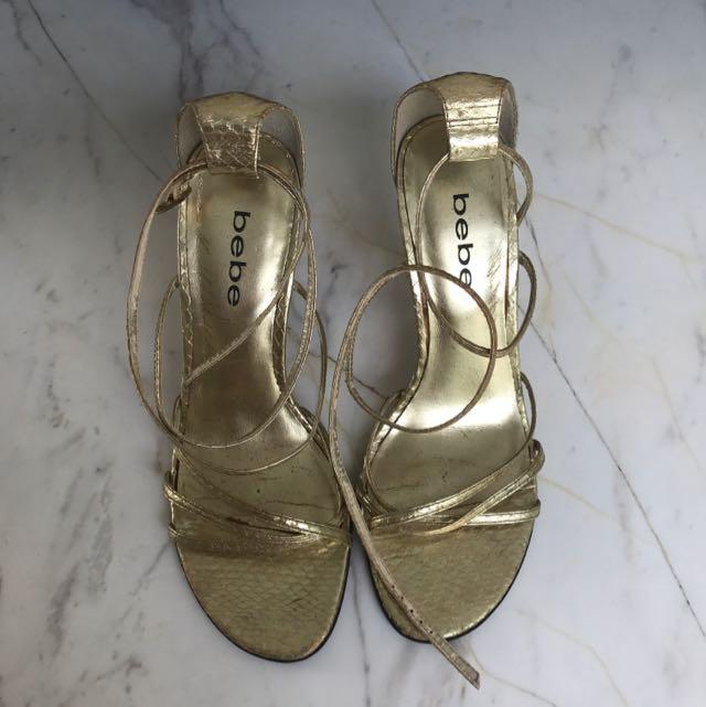 Bebe Shoes Heels 10 Cm Gold Snakeskin