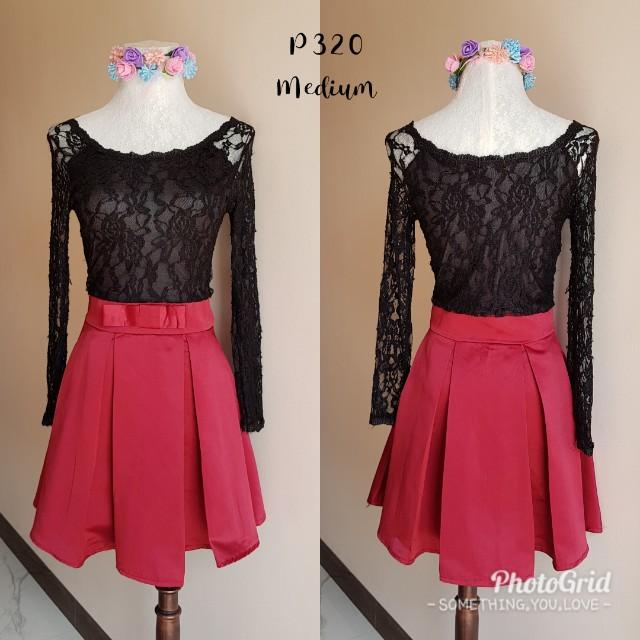 Black lace x silk dress