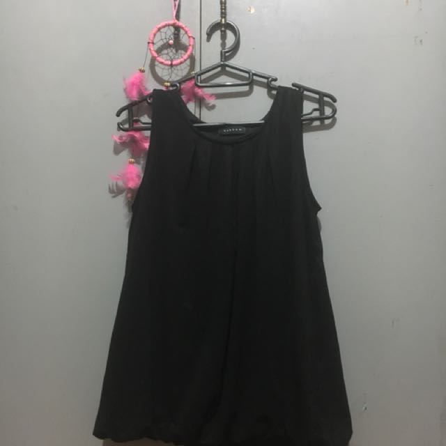 Black Sleeveless Blouse (brand: Reborn)