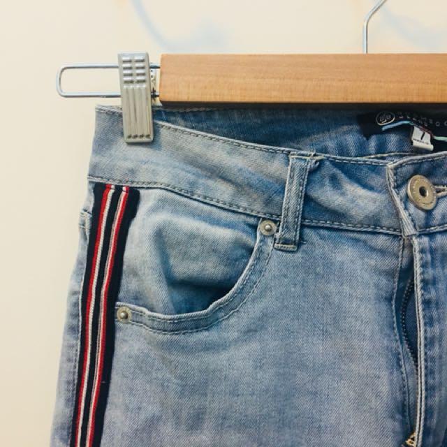 Blue, distressed hem jeans