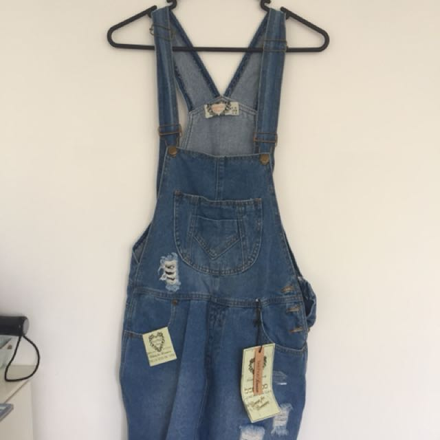 Boohoo denim dungaree skirt
