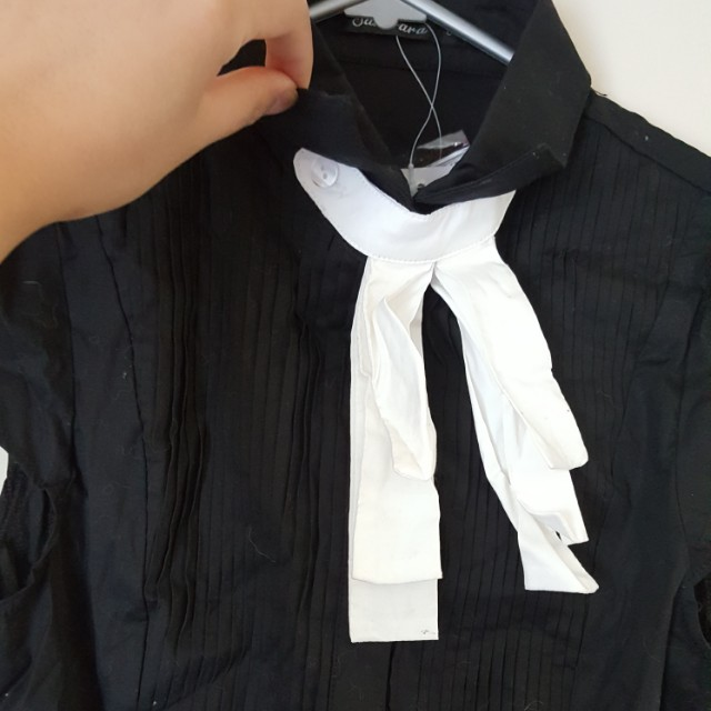 Brand new Ribbon shirt BLACK white ribbon and button