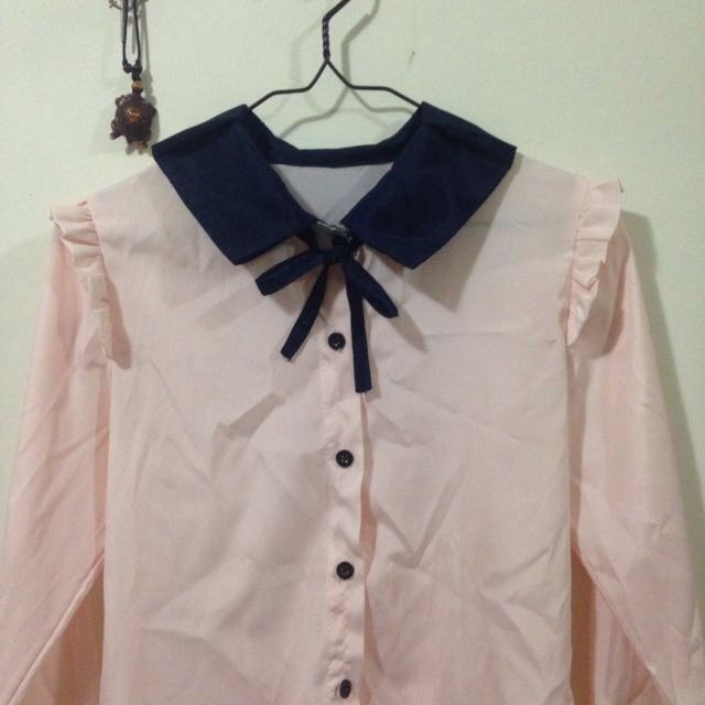 Button Up Shirt With Bow And Frills