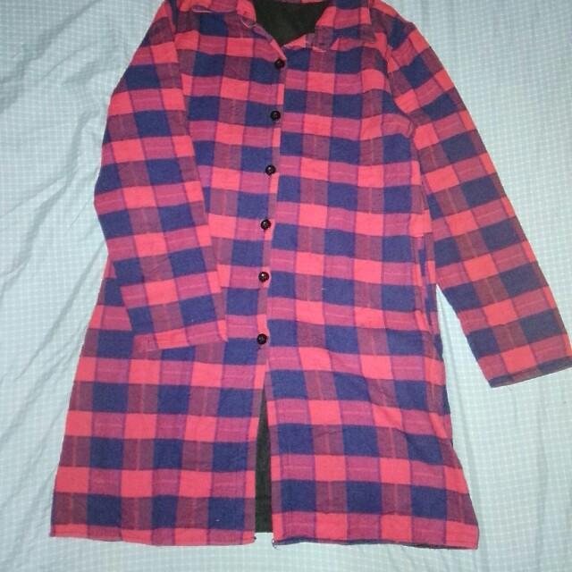 Checkered long sleeve dress