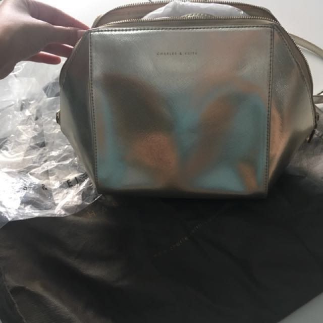 Ck gold sling bag (charles and keith)