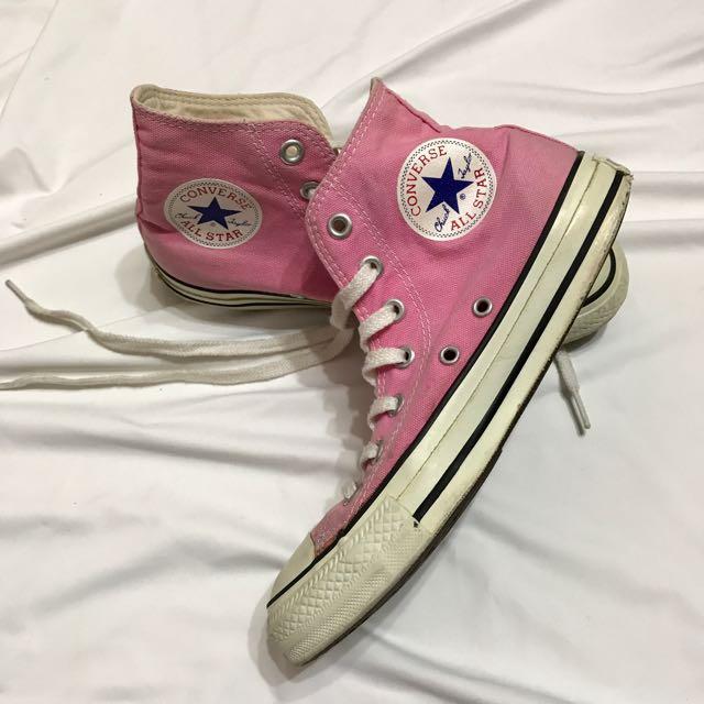 Converse 粉紅色 高筒帆布鞋