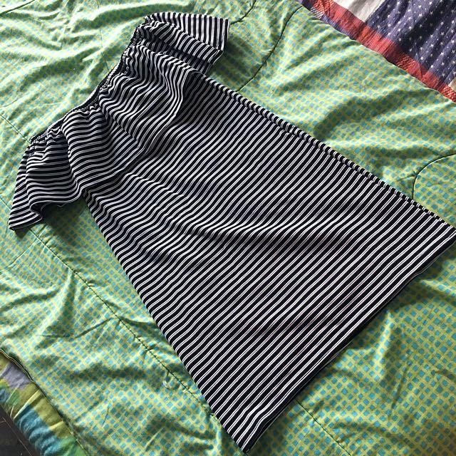 Cotton On Stripes Off Shoulder Dress