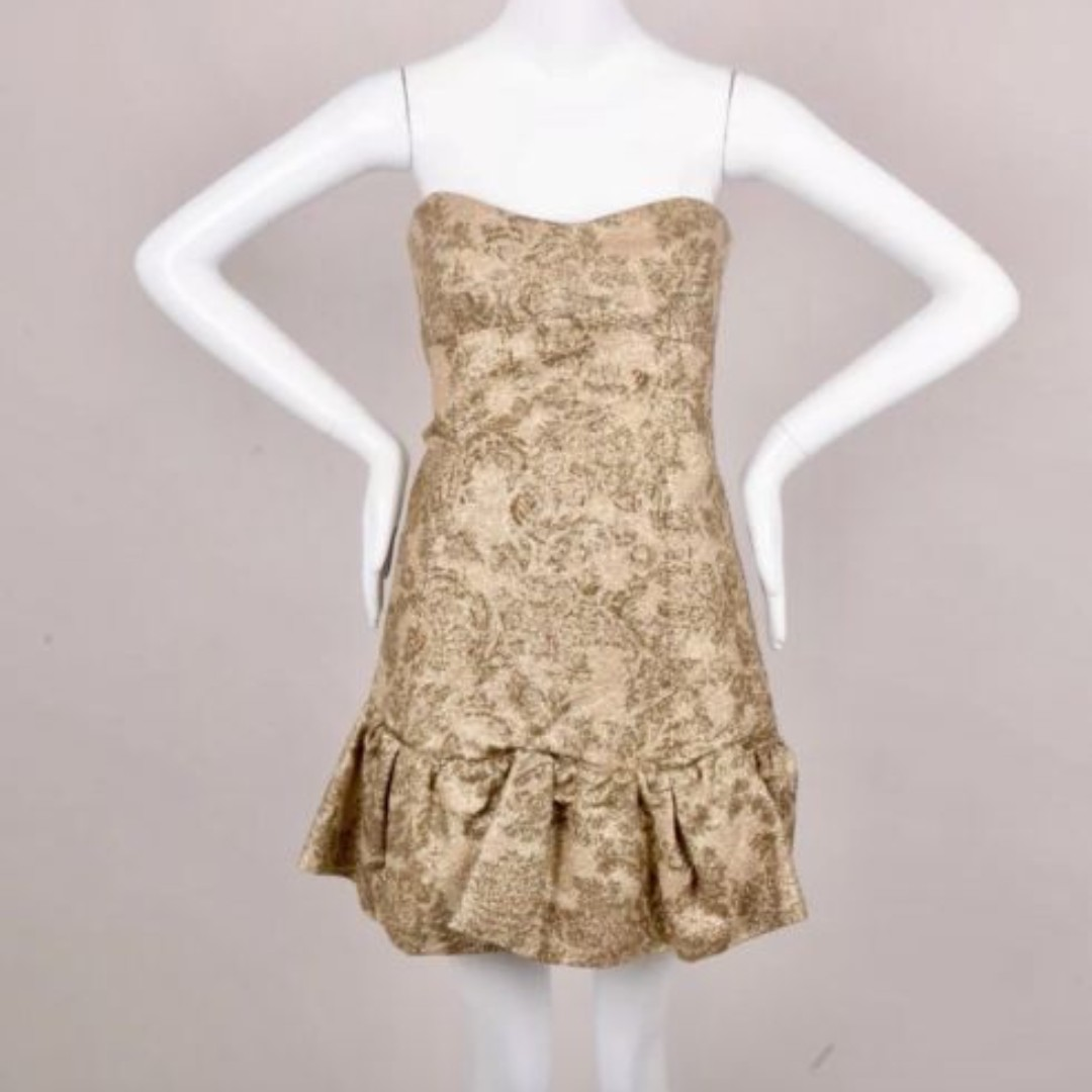 D & G gold brocade fitted corset strapless mini dress, sz 42 NWT