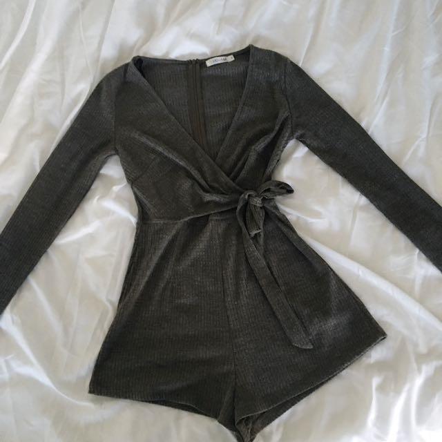 Dark grey tie up waist playsuit