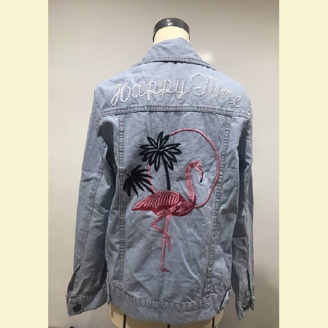 Denim Jacket Flamingo