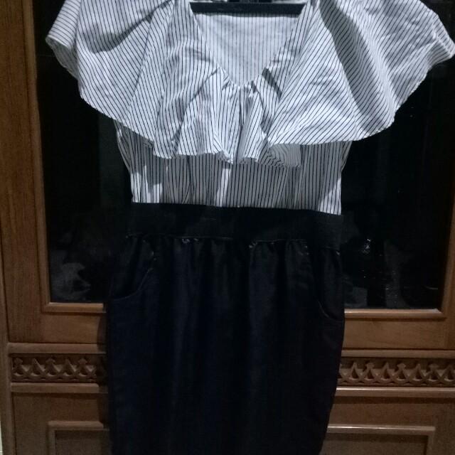 dress kombi putih item