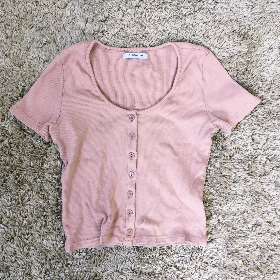 Dusty Pink Button Crop Top