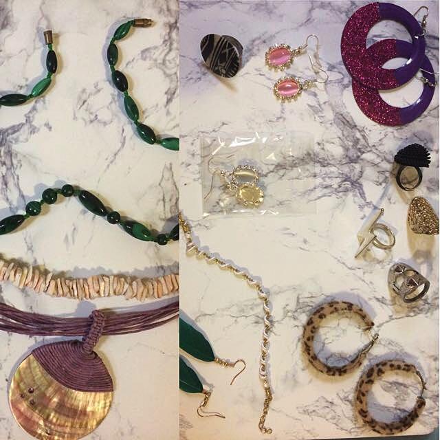 Earrings, necklace, rings, bracelet