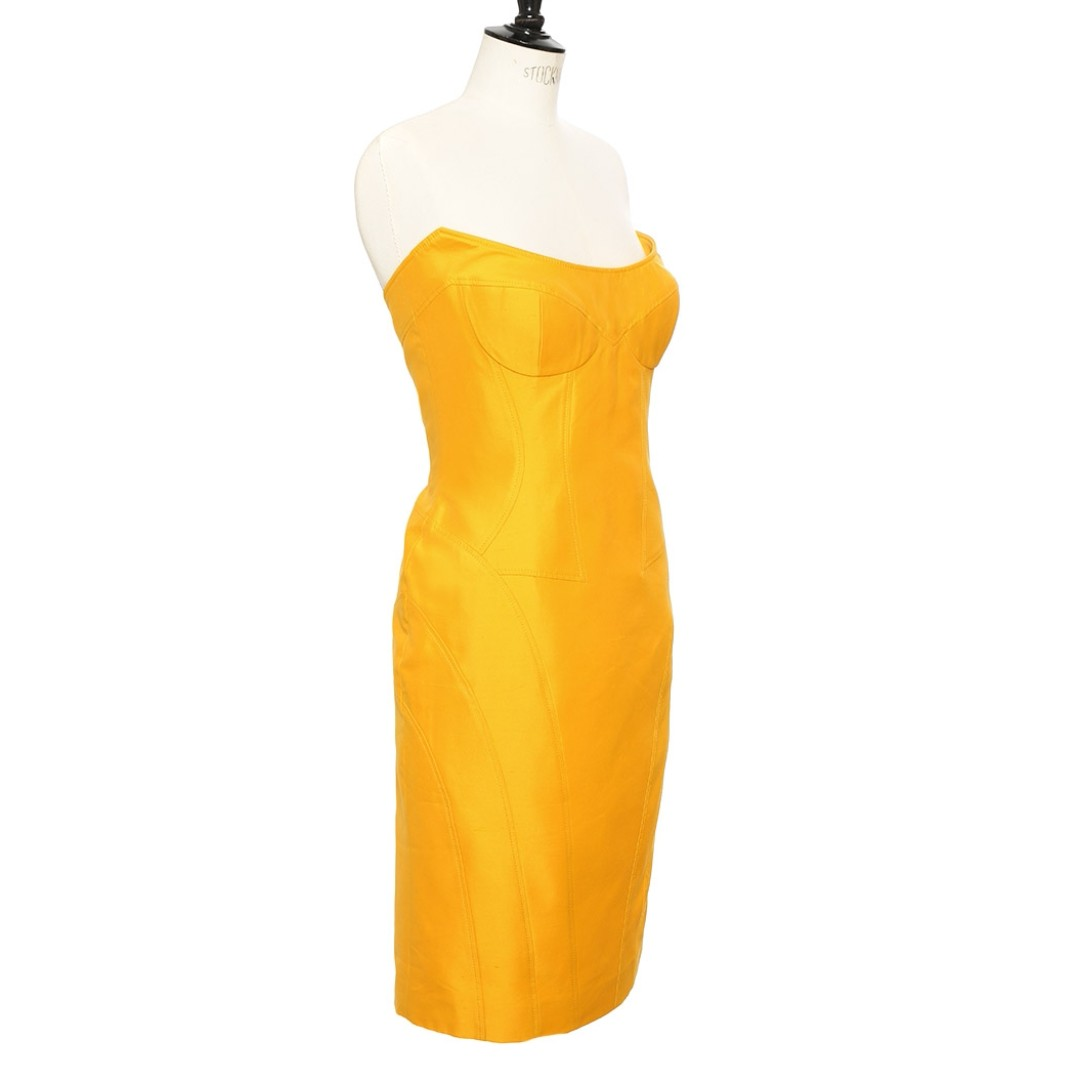 Escada made in Italy saffron yellow fitted strapless silk dress, sz 40