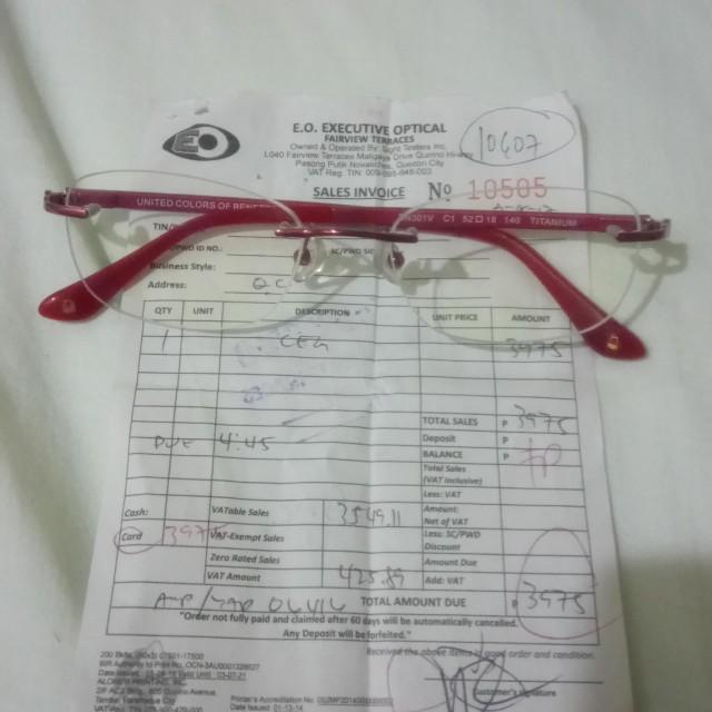 Eyeglasses (frameless)