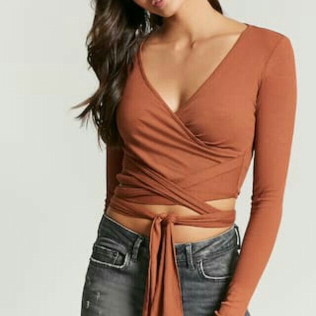 F21 Ribbed Knit Self Tie Crop Top