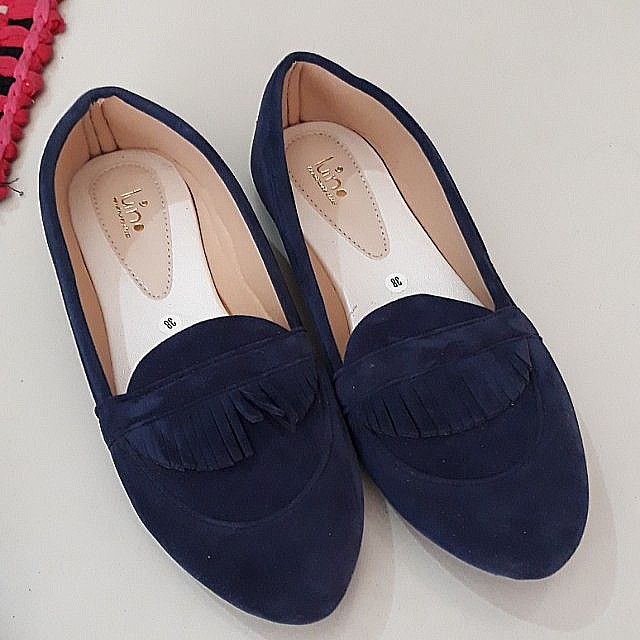 Flat Shoes Navy Handmade