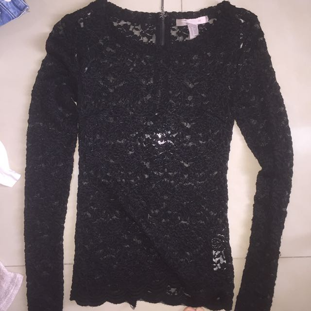 Forever 21 Black Lace Longsleeve Top