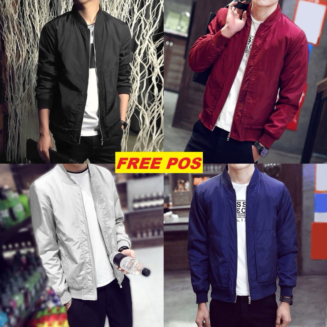 [FREE POS]Korean Casual Men Long Sleeved Bomber Jacket Ver B