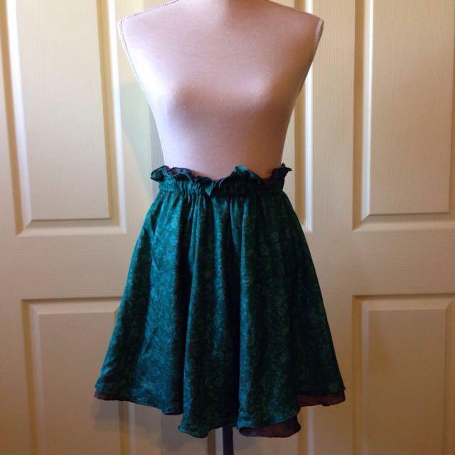 Gathered 100% Silk Skirt