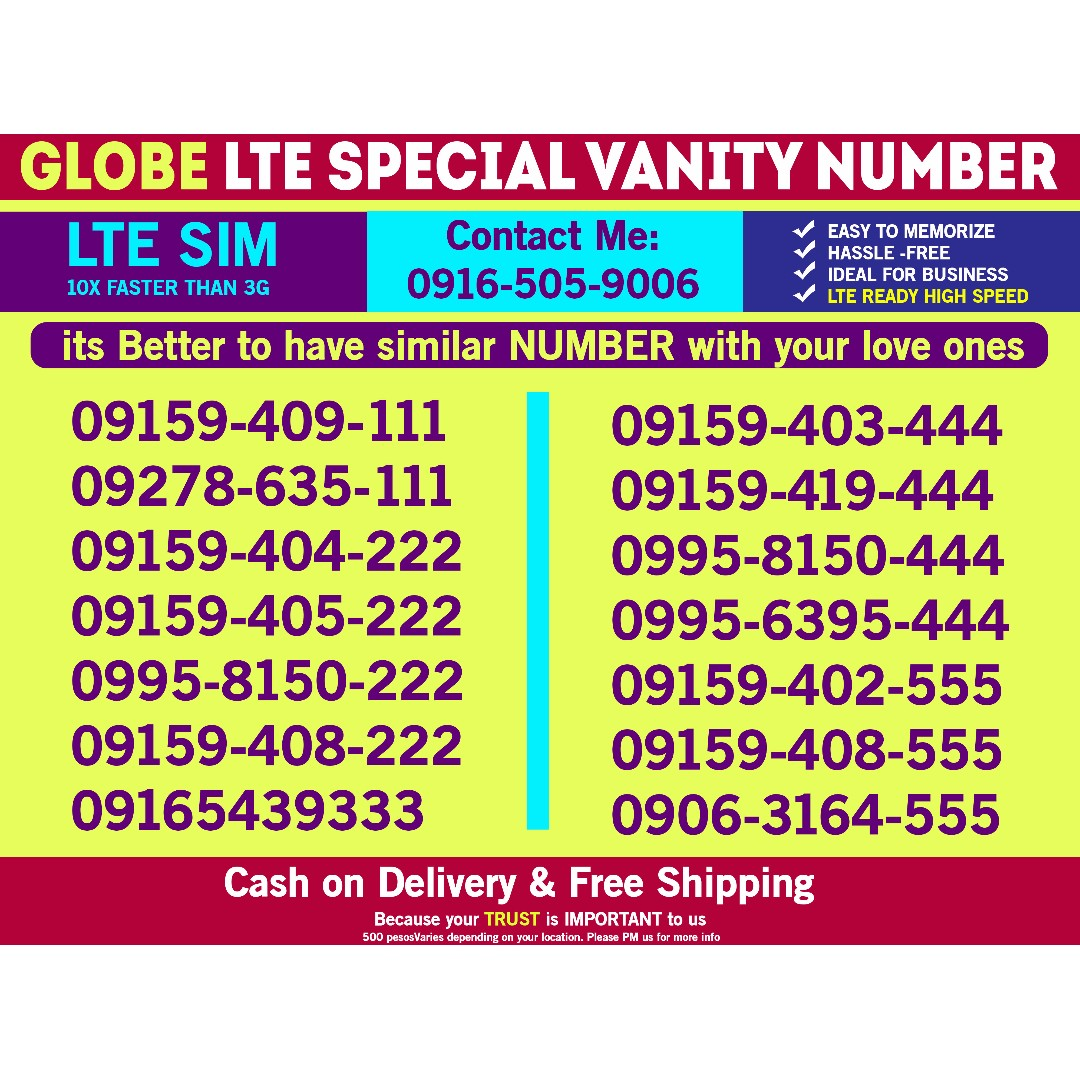 Globe Sim Special Vanity Number with 3 same last digits