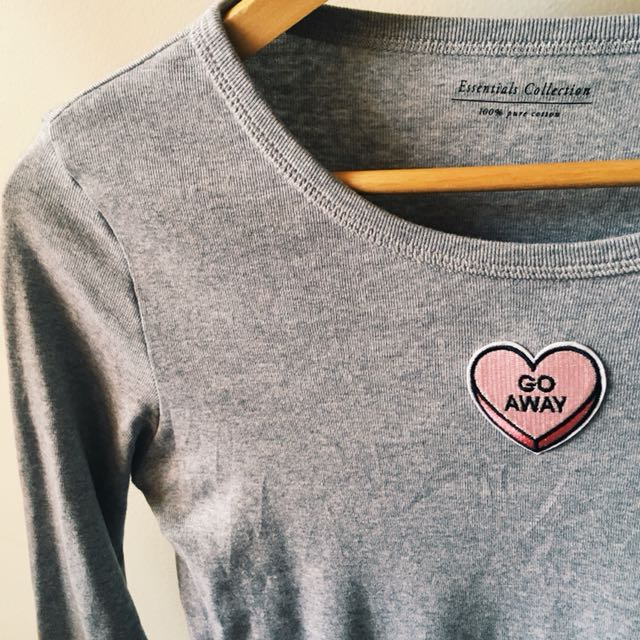 'go away' heart shaped embroidered/patched long sleeved sassy top, women's 8-12