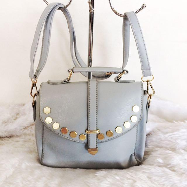 Gray Studded Sling Bag