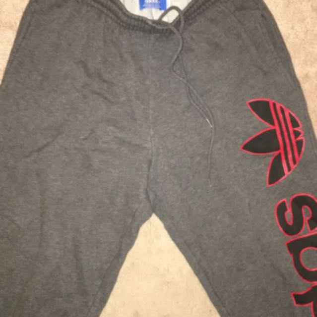 Grey and Red Adidas Sweatpants