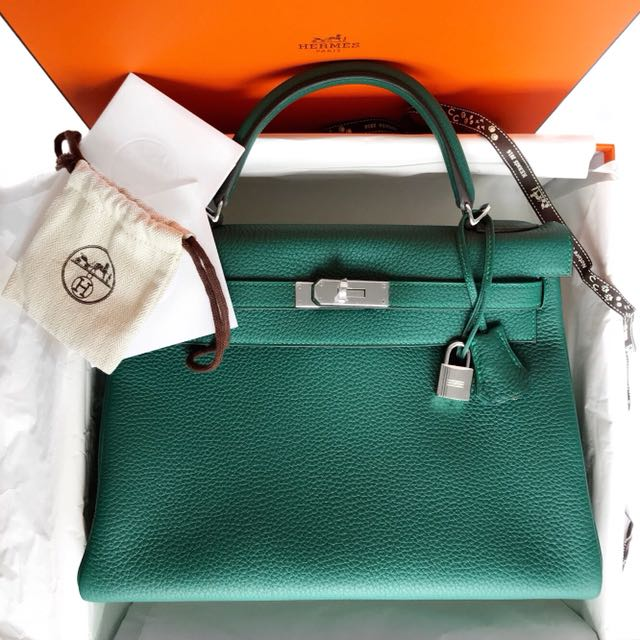 19e4df6bfb39f Hermes 2015 Malachite Leather Kelly 32 Retourne Bag with Palladium ...