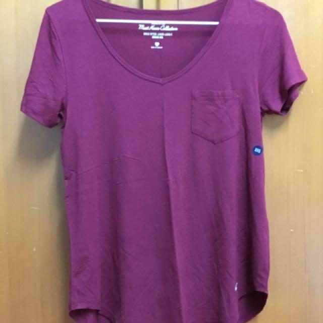 美國購入-海鷗Hollister酒紅短袖T恤Xxs