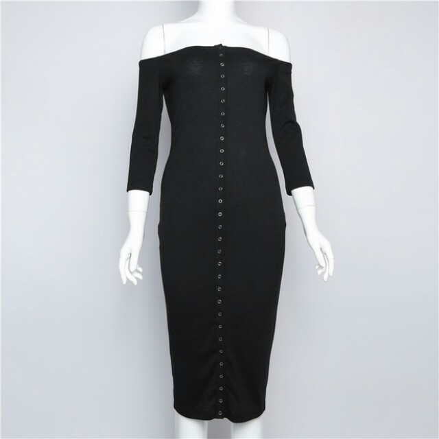 Hot Selling Boat Neck Solid Dress