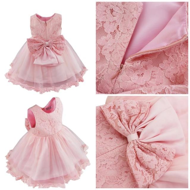 7c0bae61a13e7 Infant Baptism flower Girl Dresses Children Dress Party Summer Princess  Baby Girl Wedding 1 Year Birthday Dress Birthday Big Bow