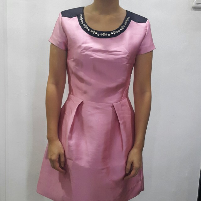Karimadon Baby Pink Party Dress with Bejeweled Neckline