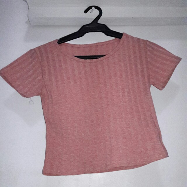 Old Rose Knitted Crop Top