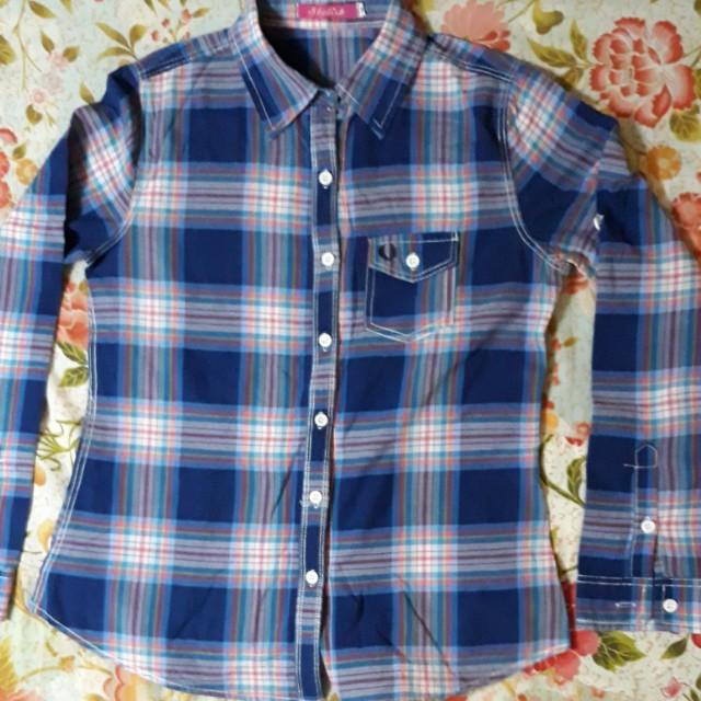 Long sleeved polo blouse