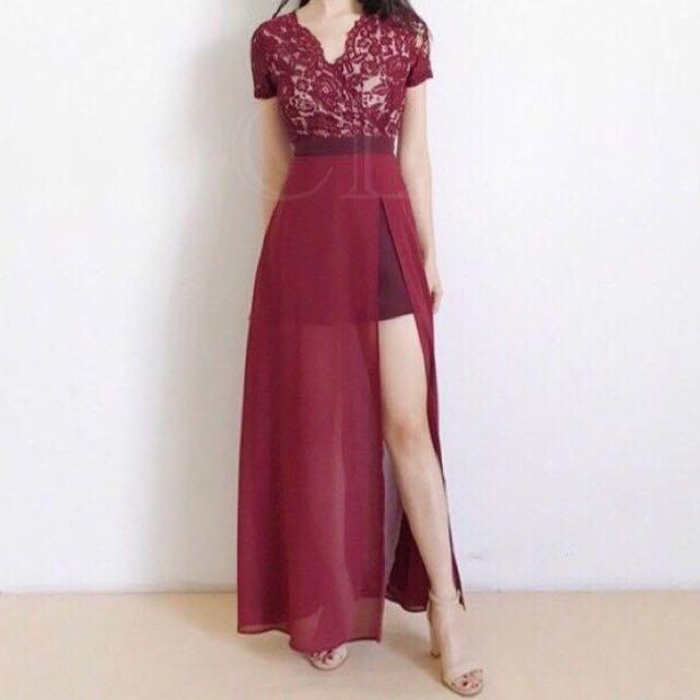 Lorraine Dress Maroon