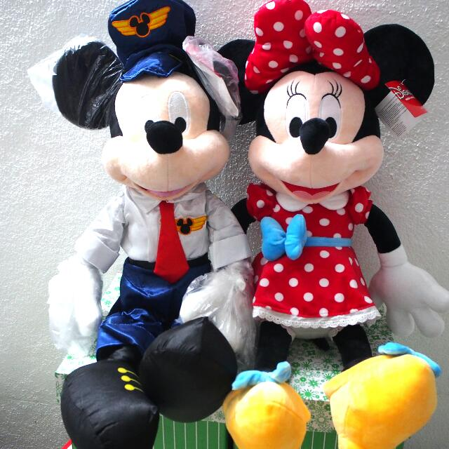 SOLD Mickey And Minnie Mouse Plush Toy Figure Big Christmas