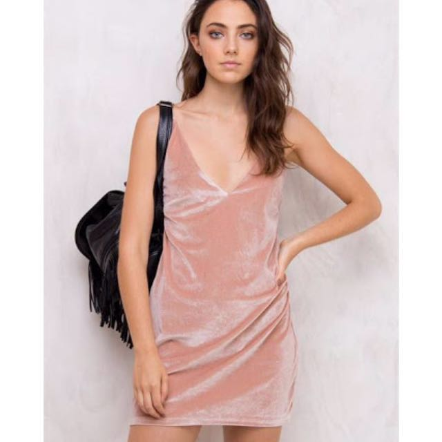 MINKPINK Luxe Velvet Slip Dress Blush
