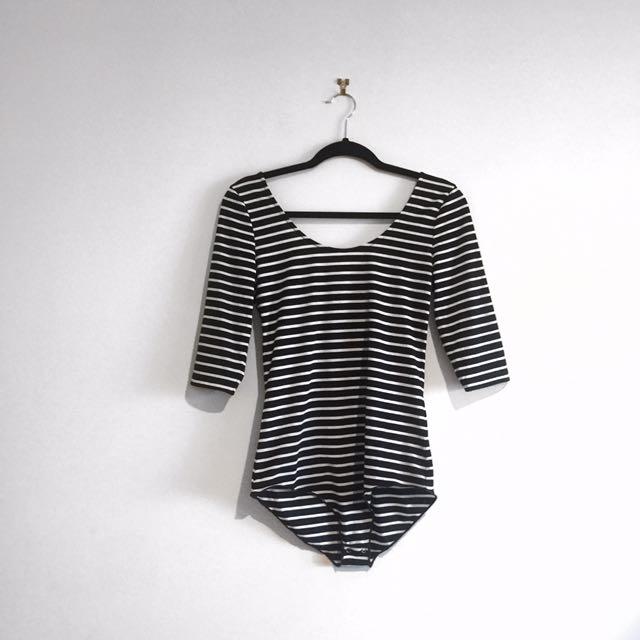 MinkPink Striped Bodysuit Size M