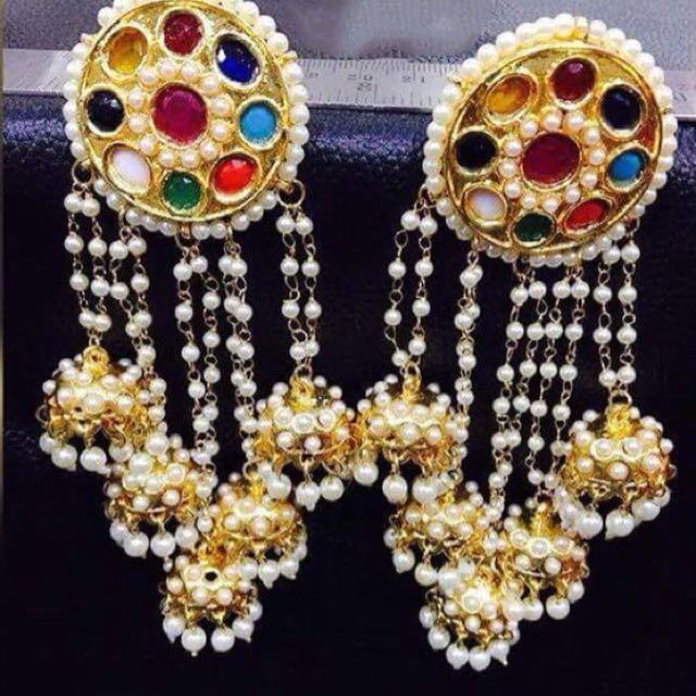 Navratan big earrings