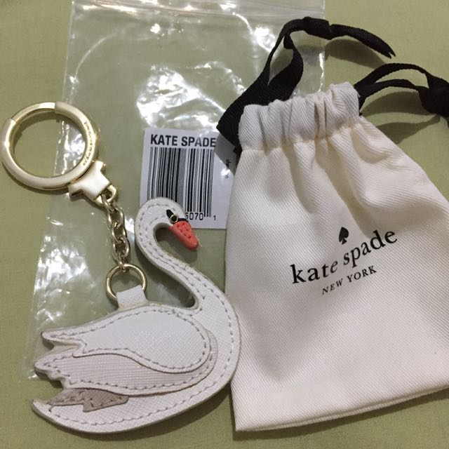 NEW Kate Spade Swan Leather Keychain Bag Charm