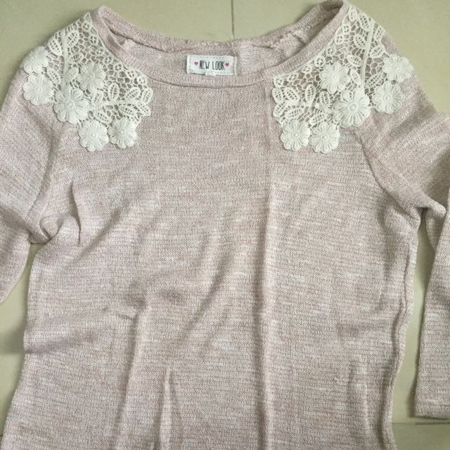 New Look Pink Lace Sweater