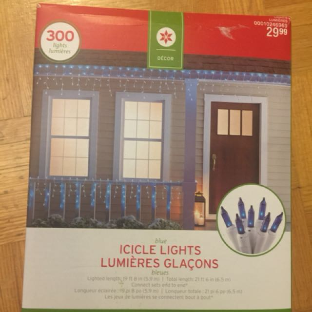 New open box blue 300 icicle Christmas lights